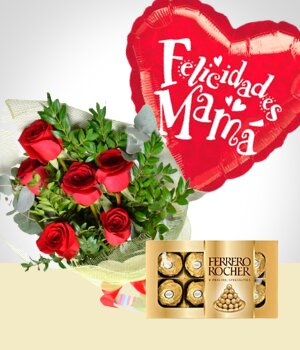 Send Flowers to :  Surprise for Mom: Bouquet, Chocolates & Balloon