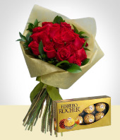 Birthday - Love Wish: 24 Roses Bouquet & Chocolates