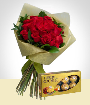 Send Flowers to :  Love Wish: 24 Roses Bouquet & Chocolates