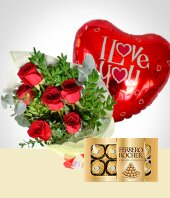 Roses - Surprise of Love: Bouquet, Chocolates & Balloon