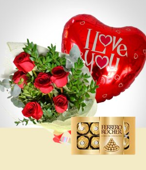 Send Flowers to :  Surprise of Love: Bouquet, Chocolates & Balloon