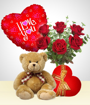 Plush Toys - Silver Valentine Combo: 6 Roses Bouquet + Balloon + Teddy Bear+ Heart Chocolate box