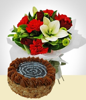 Send Flowers to :  Christmas combo: Flowers + cake