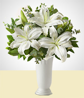 Occasions - Condolence  Flower Vase -  White