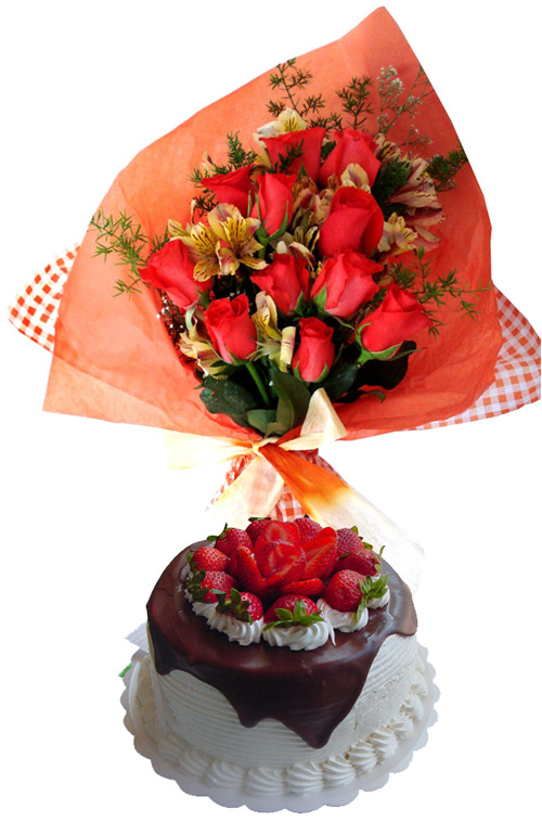 Cakes - Refinement Combo: Cake + 12 Roses Bouquet