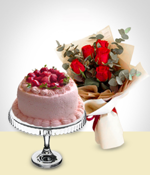 Cakes - Special Offer: Cake +  Roses Bouquet
