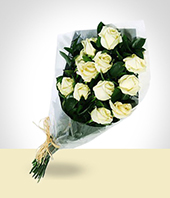 Condolences - White Roses Bouquet