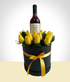 Send Flowers to :  Box of Roses and Wine