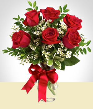 Send Flowers to :  6 Roses Arrangement