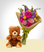 Specials & Sets - Colorful Bouquet and Teddy