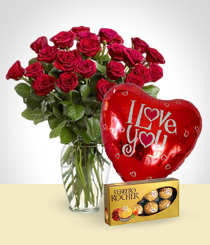 Send Flowers to :  Red Love Set
