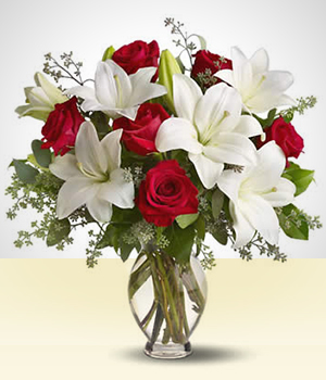 Flower Arrangements - Passionate: Red and Pink Lilies