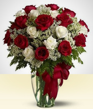 Flower Arrangements - Exuberant: White and Red Roses