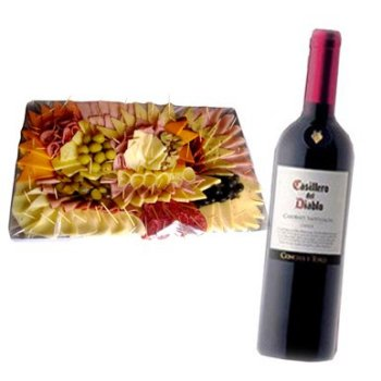 Send Flowers to :  Tablita Mixed + Red Wine Bottle Set