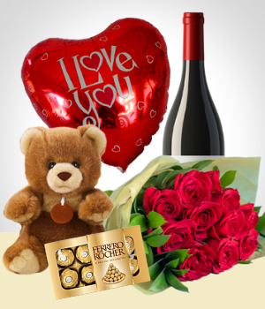 All ocassion - Teddy + Balloon + Chocolates + Wine + Flowers