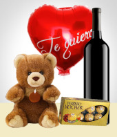 Love and Romance - Teddy + Balloon + Chocolates + Wine