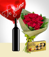 Love and Romance - Balloon + Chocolates +Wine + Flowers