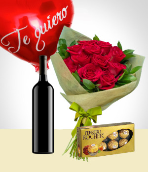 All ocassion - Balloon + Chocolates +Wine + Flowers