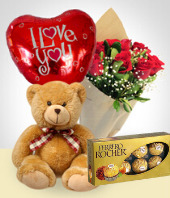 - Teddy + Balloon + Chocolates + Roses Bouquet