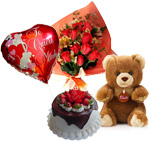 More Gifts - Sweet Heart: Cake + Flowers + Teddy + Balloon